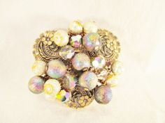 Vintage  Pin Brooch Juliana Style Rhinestones Crystals Molded Art Glass Cabs