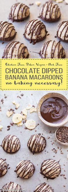 No-Bake Chocolate Dipped Banana Macaroons