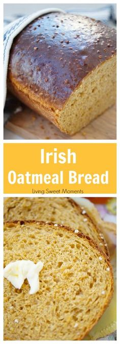 Deliciously Easy Irish Oatmeal Bread This easy and delicious Irish Oatmeal Bread recipe is made with steel cut oats, yeast, and molasses. Perfect for toast, sandwiches, & everything in between. More bread recipes at livingsweetmoment… via Bread Machine Recipes, Easy Bread Recipes, Baking Recipes, Dessert Recipes, Quick Bread, Sandwich Recipes, Oatmeal Bread Recipe, Oatmeal Recipes, Think Food