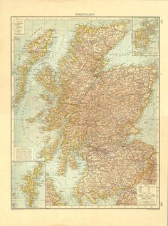 Old Map of Scotland 1922 Antique Lithograph by CarambasVintage, $38.00