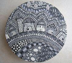Serious zentangle in polymer. Julie VanDuren