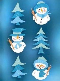 """Appliqués arbres et bonhommes de neige. Patrons à côté. ´Ταξίδι στη Χώρα...των Παιδιών!"""": ΧΙΟΝΙΣΜΕΝΕΣ ΓΙΡΛΑΝΤΕΣ"""