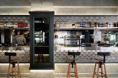 Sal Curioso Spanish restaurant by Stefano Tordiglione Design Hong Kong 03 Pub Design, Retail Design, Ceviche Restaurant, Cafe Restaurant, Commercial Design, Commercial Interiors, Hotel Room Design, Column Design, Restaurant Interior Design