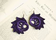 lace earrings ZARA purple by tinaevarenee on Etsy, $22.00