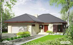 Eris II (wersja C) - projekt domu - Archipelag Spanish Architecture, Brick Architecture, My Home Design, House Design, Stone Driveway, Bungalow House Plans, Gazebo, Villa, Outdoor Structures
