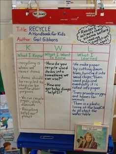 The second graders are creating a KWL chart when they read the informational book Recycle written by Gail Gibbons.