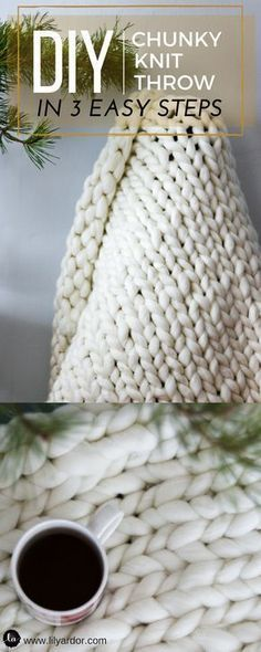 This Chunky knit throw blanket is so easy to make! Have your chunky knit blanket done within a few hours! Perfect for Gifts or to keep you cozy on your couch! Find out how much chunky knit yarn you need to make your blanket. Chunky Knit Yarn, Chunky Knit Throw Blanket, Hand Knit Blanket, Crochet Blanket Patterns, Weighted Blanket, Make Blanket, Knit Patterns, Cable Knit, Stitch Patterns