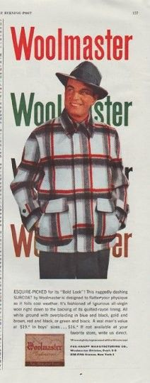 """Description: 1948 WOOLMASTER vintage print advertisement """"Esquire-Picked"""" -- Esquire-Picked for its """"Bold Look""""! This ruggedly dashing Surcoat by Woolmaster is designed to flatter your physique as it foils cool weather. -- Size: The dimensions of the half-page advertisement are approximately 5.25 inches x 13.5 inches (13.25 cm x 34.25 cm). Condition: This original vintage half-page advertisement is in Excellent Condition unless otherwise noted ()."""