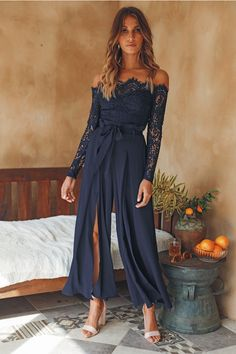 Bridesmaids jumpsuits - Things Work Out Jumpsuit Navy – Bridesmaids jumpsuits Jumpsuit Formal Wedding, Dress Formal, Wedding Dress, Prom Jumpsuit, Navy Jumpsuit, Jumpsuit Outfit, Floral Jumpsuit, Navy Dress Accessories, Semi Formal Outfits For Women