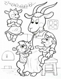 The seven goats - Healthy Food Art Snow White Coloring Pages, Coloring For Kids, Coloring Pages For Kids, Coloring Books, Wolf, Preschool Writing, Object Drawing, Color Stories, Stories For Kids
