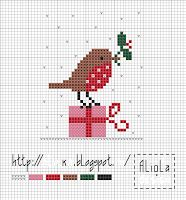 Cross stitch pattern for the girls for their christmas t-shirts.  Use a different colour on the present box for each.