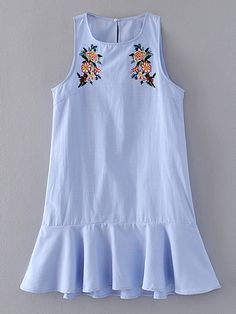 SheIn offers Flower Embroidery Ruffle Hem Tank Dress & more to fit your fashionable needs. Cute Dresses, Girls Dresses, Dresses With Sleeves, Summer Dresses, Embroidery Dress, Embroidery Shop, Embroidery Stitches, Indian Designer Wear, Tank Dress