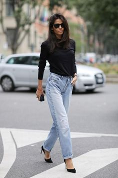 Street style at Milan Fashion Week Clothing, Shoes & Jewelry - Women - women's jeans - http://amzn.to/2jzIjoE
