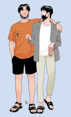 Cartoon Wallpaper, Bts Wallpaper, Fanfic Namjin, Sapo Meme, Friendship Photography, Bts Drawings, Bts Chibi, Kpop Fanart, Ship Art