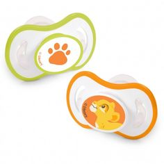 The Lion King Pacifiers. Soothe your little cub with these two adorable pacifiers with Simba and his paw print in the smallest size for Baby's newborn mouth.