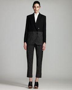 Combo Boyfriend Jacket, Sleeveless Poplin Blouse & Metallic Cargo Pants by Stella McCartney at Bergdorf Goodman.