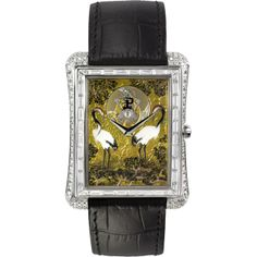 Piaget Emperador XL Flying Tourbillon Cranes Enamel Miniature Painting Full Pavé White Gold