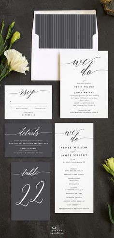 We Do Wedding Invitation Suite in grey and white