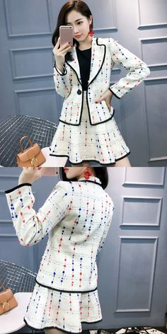 05dc5a81e28cd Women colorful polka dots tweed blazer top + short sexy skirt suit formal  business work office