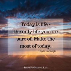 Today is life-the only life you are sure of.  Make the most of today. ~Dale Carnegie