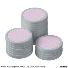 White Peace Signs on Pastel Lilac Poker Chips