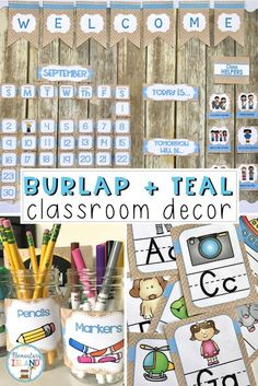 "Get ready for back to school with a shabby chic design that is in style! This burlap classroom decor is sure to be a hit with children and teachers. The theme gives a ""homey"" feel when the decorations are added to your classroom. From calendar to jobs, this is a great cohesive set for a farmhouse or burlap theme! #burlaptheme #backtoschool #classroomdecor #classroomtheme #burlapandteal #schooldays"