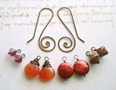 Autumn Interchangeable Earrings, Hammered Copper Mix and Match Earrings,  Carnelian Dangle, Coin Pearl Dangle:  Autumn Sunrise.