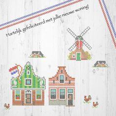 Originele felicitatiekaart met zaanse huisjes, molen  in kruissteek.