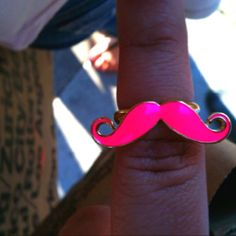 Neon Mustache Ring