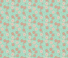 Bella Floral - mint and coral fabric by valerinick_ on Spoonflower - custom fabric