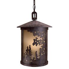Sunset Ranch� - 1 Lt Outdoor Chain Hung - 1 Light Chain Hung in Textured French Bronze w/Sunset Patina Glass