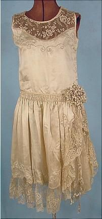 1920s Silk Wedding Dress with Lace and Pearl Detail and Lily of the Valley Decoration at Hip.: