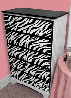 what little gal would not be delight with this dresser makeover? Hats off to our Zebra Dresser