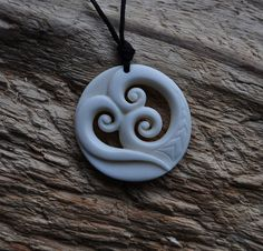 Handcarved Bone Trinity koru for Family unity & love by JackieTump, $119.00 New Zealand jewellery
