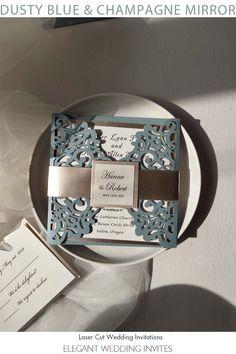 classy dusty blue laser cut wedding invitations with champagne mirror belly band and tag EWWS306 for elegant wedding ideas