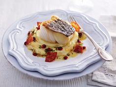 Pan-Fried Skrei Cod with Chorizo, Lemon, Pomegranate & Mashed Potato recipe from Norwegian Seafood Council Cod Recipes, Potato Recipes, Seafood Recipes, Salmon Recipes, Chorizo, Portuguese Egg Tart, Roasting Tins, Roasted Mushrooms, My Best Recipe