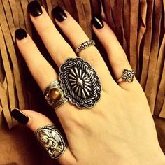 Fancy - Concho Ring by Gypsy Warrior Boho Rings, Boho Jewelry, Jewellery, Grunge Jewelry, Hand Jewelry, Hippie Gypsy, Hippie Style, Boho Style, Edgy Girls