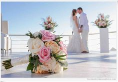 In January 2016, this fabulous couple got married at #SunsetDaMonaLisa! We were so proud to supply these lovely flowers.  What a great photo showcasing the bridal bouquet on #BouquetMonday! #CaboWedding #CaboFlowersandCakes #TheCaboFloralExperts www.loscabosflowers.com Photo credit: www.fernandojimenezphoto.com