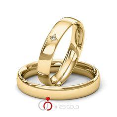 1 Paar Trauringe - Legierung: Gelbgold 585/- Breite: 4,00 - Höhe: 1,60 - Steinbesatz: 1 Brillant 0,01 ct. tw, si (Ring 1 mit Steinbesatz, Ring 2 Trauringe Steinbesatz)