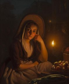 """""""By the Candlelight"""" by Petrus van Schendel (Dutch 1806-1870)"""