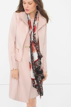 At first blush, you might see a simple pink dress. Well, look a little more closely and you will experience an intriguing layered design and rose smoke tone. Color Story | White House Black Market