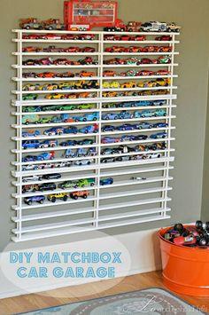 diy matchbox garage - fantastic way to organize those Matchbox cars! organization ideas #organization #organized