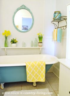 Farmhouse Bathroom with Painted Claw Foot Tub