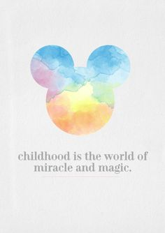 """Mickey Mouse Watercolor Illustration for Avoya Travel's Daily Escape: """"Childhood is the world of miracle and magic"""""""