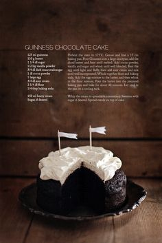 Guinness Chocolate Cake-recipe linked veganize this? Guinness Chocolate, Guinness Cake, Food Cakes, Cupcake Cakes, Cupcakes, Beer Cakes, Sweet Recipes, Cake Recipes, Dessert Recipes