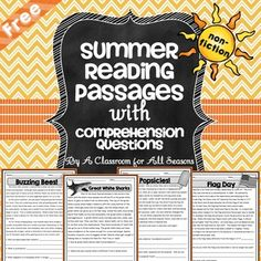 FREE Summer Reading Passages with Comprehension Questions. They can be used as a quick warm up, in reading centers or for homework. It includes 4 reading passages with 3 comprehension questions each: Flag Day Buzzing Bees!, Great White Sharks and (The In Reading Comprehension Worksheets, Reading Passages, Reading Strategies, Reading Skills, Teaching Reading, Comprehension Questions, Guided Reading, Reading Workshop, Teaching Ideas