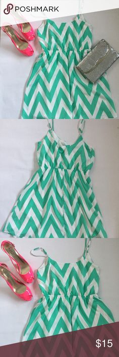 EUC Everly Chevron Dress Absolutely no visible wear. Adorable teal and white chevron dress. Spaghetti straps. Everly Dresses Mini
