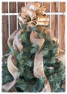 12 Inch Gold Ribbon and Burlap Christmas Tree Topper with Burlap Streamers