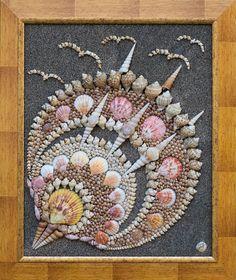 Sea Shells Mixed media Art Mosaic Original от PebbleShellArt