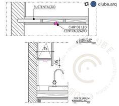 """718 curtidas, 8 comentários - Arquitetura na escala certa (@arquiteturanaescala) no Instagram: """"DETALHES COM FITA LED . Fizemos dois detalhes p/ vocês: . 1️⃣ (embaixo) é para um armário de WC,…"""""""